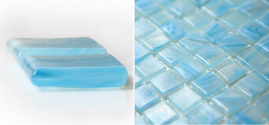 Blue Patterned Glass Mosaic Tiles