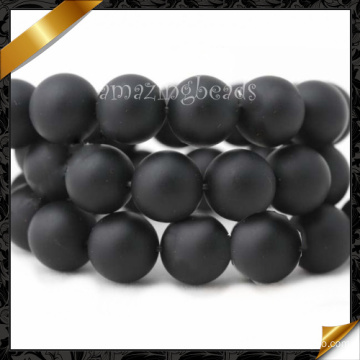 Natural Agate Beads, Black Onyx Smooth Round Bead, Stone Beads Jewelry, Gemstone (GB002)