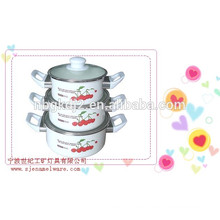 coating high quality glass lid and bakelite knob of carbon steel enamel casserole sets