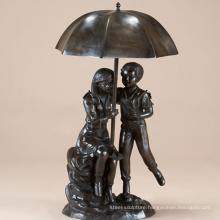 large garden outdoor metal craft bronze boy & girl umbrella fountain