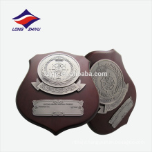 Irregular shape metal logo wooden award plaque