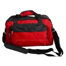 Bolsos de viaje de poliéster rojo con correa de hombro acolchada antideslizante