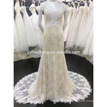 Costum Made 2015 Champagne Deep V-Neck Sexy Back See-Through Elegant Cap Sleeve Mermaid Lace Saudi Arabian Wedding Dress A013