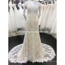 Costum Made 2015 Champagne Deep V-Neck Sexy Back See-Through Elegante Cap Sleeve Mermaid Lace Saudi Arabian Wedding Dress A013