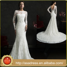 AMS35 Custom Made V-back Long Sleeve Bridal Gown High Neck Long Train Lace Arab Wedding Dress