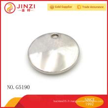 Étiquettes métalliques circulaires populaires pour accessoires de sacs