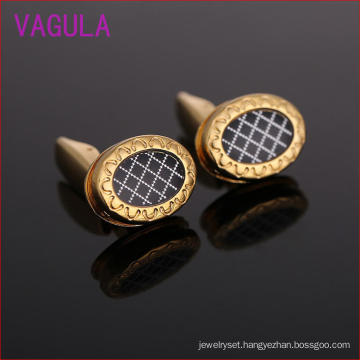 Europe′s Latest Fashion Gold Plated Oblique Elliptic Cufflinks