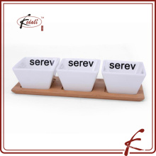 decal pattern ceramic snack serving dishes with bamboo tray