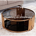 Modern round stain less steel coffee table set glass top end table