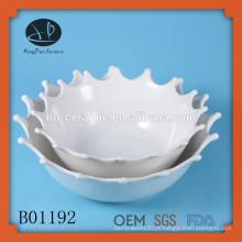 Bacia de salada de cerâmica branca decorativa, bacia de sopa de cerâmica de moda com pintura de fruta, taça de forma de fruta, tigela de sopa de cerâmica definido