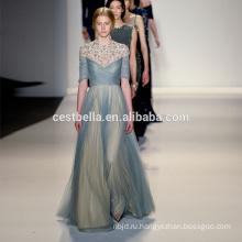 Светло-голубой из бисера пляж свадебное платье и пляжная синий длинное вечернее платье
