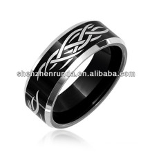 Laser Etched Tribal Design Black Tungsten Mens Ring 8mm Wedding Band