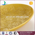 Wholesale home decoration yellow ceramic dessert fruit plate