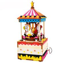 FQ marque filles personnalisées bébé carrousel Noël en bois personnalisé boîte à musique