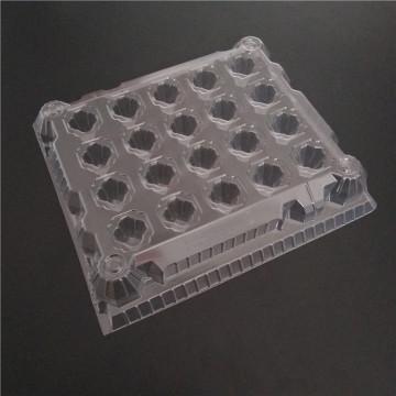 Limpar bandeja de suporte de ovo de geladeira de plástico transparente para 65-70g ovos
