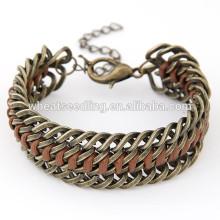 Las últimas señoras punky del diseño pulsera pesada de cobre de la cadena de la aleación