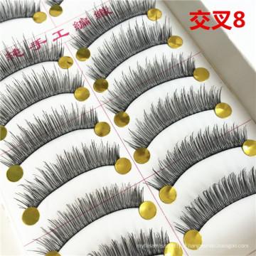 Private label grande estoque cílios falsos 10 pares Taiwan cílios artesanais