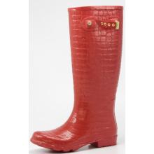 Red Women's Crocodile Rubber Rain Boots