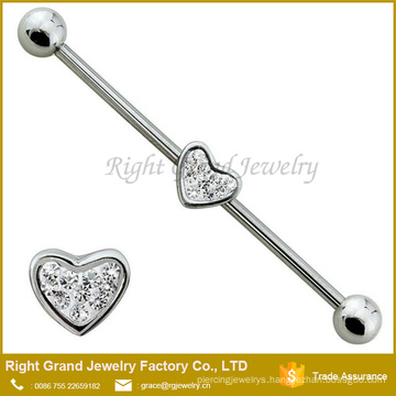 Surgical Steel Ear Industrial Barbell With 6x7mm CZ Heart Jeweled