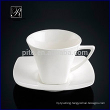 Elegant style square porcelain coffee cup with saucer for cafeteria restaurant hotel use