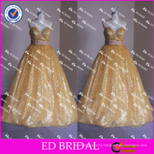 ED Bridal Bling Bling Golden Sequin Bow Belt Sleeveless Strapless Ball Gown Long Prom Dress 2017