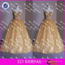ED Bridal Bling Bling Golden Sequin Bow Belt sem mangas Strapless Ball Gown Long Prom Dress 2017