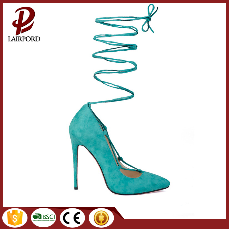 green strap lacing sexy shoes for ladies