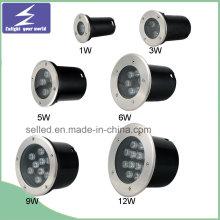 12V 1/3/5/6/7/9 / 12W inoxidable de alta potencia al aire libre LED enterrado luz