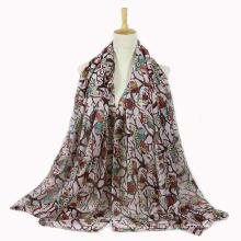 Primavera mulheres verão longo coruja xale lenço de impressão (sw143)