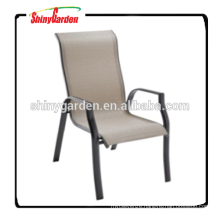 High back stackable dining arm sling chair, modern leisure sling chair
