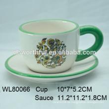 Mano, Pintura, cerámica, café, taza, platillo