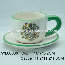 Hand painting ceramic coffee cup and saucer