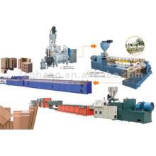 Ligne de production composée de machine en plastique en bois