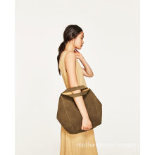 Bucket Bag in Taupe Colored Leather with Contrasting Interior Lining