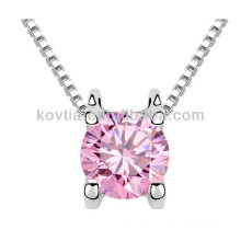Итальянское верхнее ювелирное украшение тонкое розовое кристаллическое ожерелье для девушки