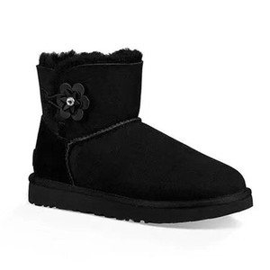 Women Warmest button poppy flower fur ankle boots