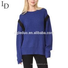 Manter quente V padrão de mulher de malha camisola de lã design para a menina