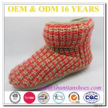 Neue Design-Farbe gestrickt mit bowknot niedlichen Knöchel Mädchen Frauen Slipper Stiefel