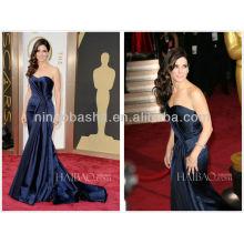 Noble Blue Sweetheart Pleated Mermaid Long Satin Evening Dress 2014 The 86th Academy Awards Sandra Bullock Celebrity Gown NB0339