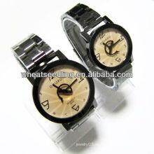 El mejor reloj de moda promocional regalo par conjunto con caja de aleación correa de acero inoxidable para los amantes JW-40