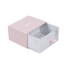 Wholesale Custom Logo Rigid Sliding Out Drawer Box Fancy Marble Gift Box For Jewelry /accessory Jewelry Storage Box With Ribbon