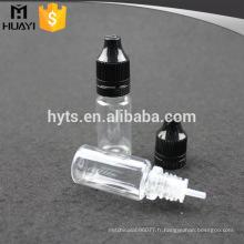 Bouteille en plastique d'animal familier de bouteille de compte-gouttes de 10ml pour l'e-liquide avec le chapeau à vis en plastique