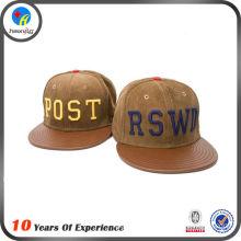 custom made design brown leather snapback cap