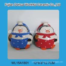 Fábrica directamente pingüino figurilla pote de especias de cerámica