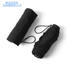 "European Classic Black Color Super Light 19"" Promotional Small Size Pocket Folding Mini Travel Umbrella Supplier"