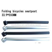 2015 Fahrräder Sattelstütze 33.9 * 550mm Aluminium Faltschraube schwarz / silber