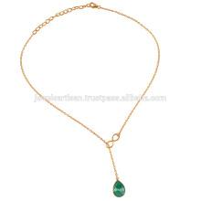 Зеленый халцедон & желтое золото Vermil серебряные цепи Neckalce для женщин