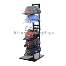 Estante de exhibición portable del metal de la fila del metal negro, estante de pie del piso de 6 niveles que exhibe el sombrero de vaquero