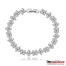 Silver Plated Lucky Clover Chain Bracelets for Girls (CBR0012-B)