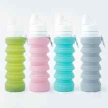 Garrafa de água saudável dobrável reusável do silicone de LFGB